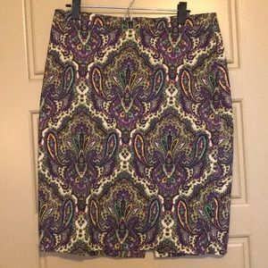 J. Crew No. 2 Pencil Skirt 10 Paisley Purple